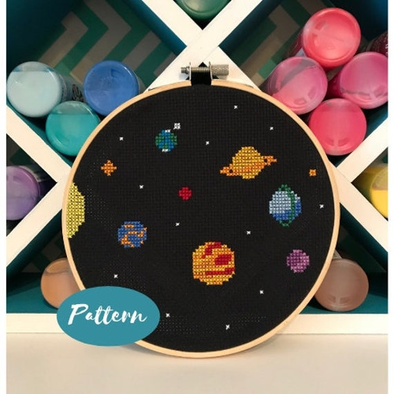 Beginner Cross Stitch Pattern: Outer Space // Custom Embroidery