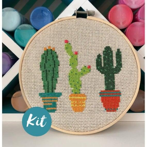 Beginner Cross Stitch Kit Cactus Custom Embroidery Pattern