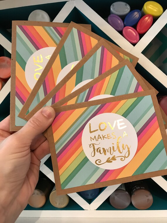 Handmade gold foil greeting card set love makes a family foiled il570xn m4hsunfo