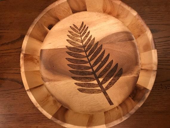 Large Custom Bowl // Decorative Wood Burned Tree // Food