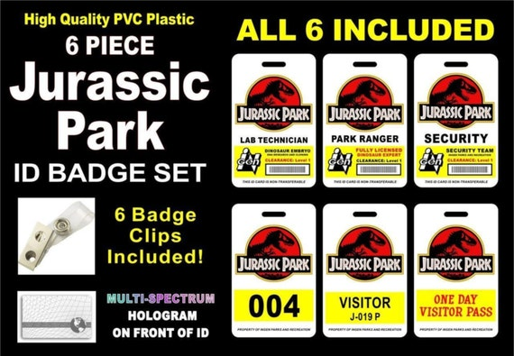 Jurassic Park ID Badge Set LOT Of 6 Holographic PVC