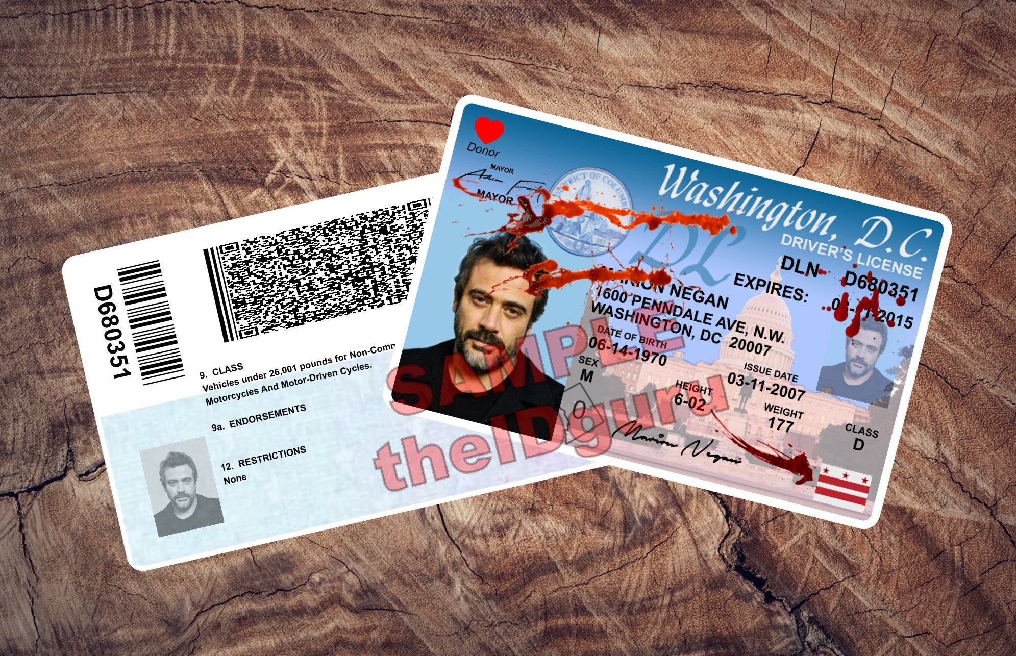The walking dead negan drivers license most realistic looking the walking dead negan drivers license most realistic looking available 2 sided card with holograms blood spatter version altavistaventures Gallery