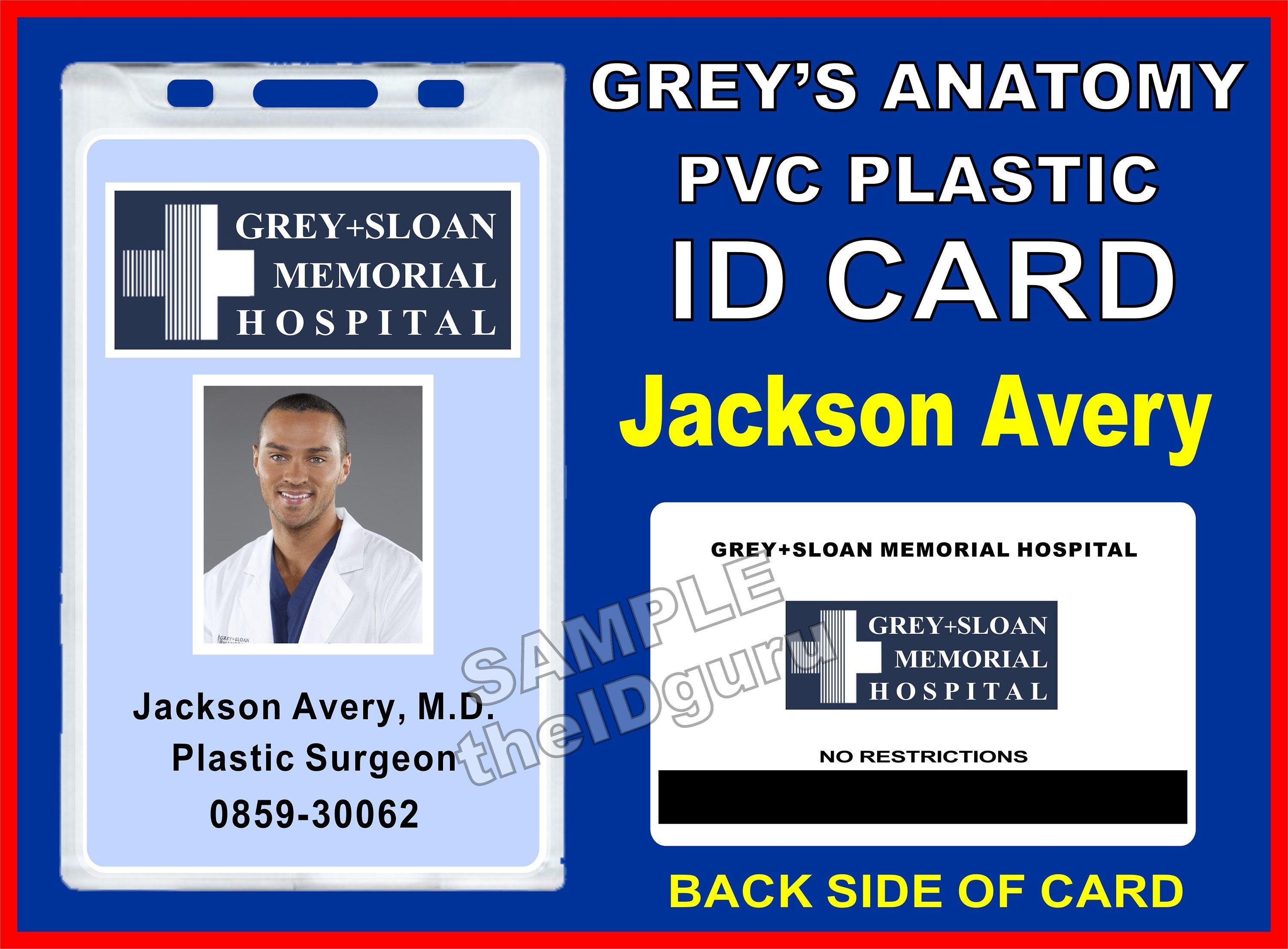 greys anatomy jackson averys id badge card prop pvc plastic id card grey sloan memorial hospital usa ships within 1 2 days - Plastic Id Cards