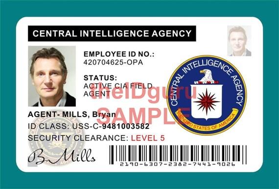 taken movie agent bryan mills cia id card prop etsy