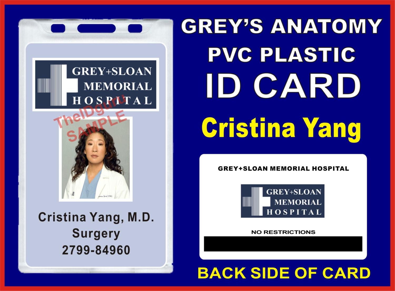 Anatomía de Grey Cristina Yang insignia de identificación / | Etsy