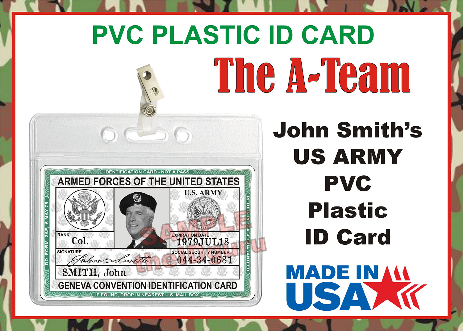 Usa Made - Army Smith Plastic Card Badge Movie The john Hannibal Prop Us Id Military A-team Pvc