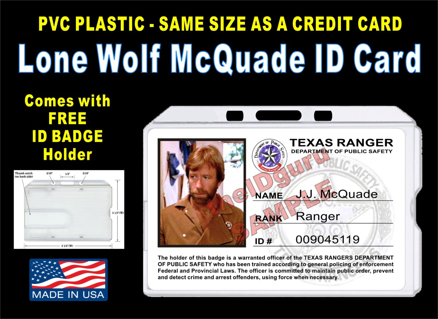 Lone Wolf McQuade (Texas Ranger) ID Badge / Card Prop ~ PVC Plastic with a  Rigid Plastic Badge Holder & Clip - usa made - High Quality