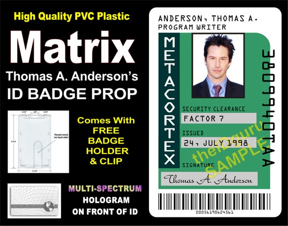 Etsy Anderson's Card Id Thomas The Matrix Metacortex Prop