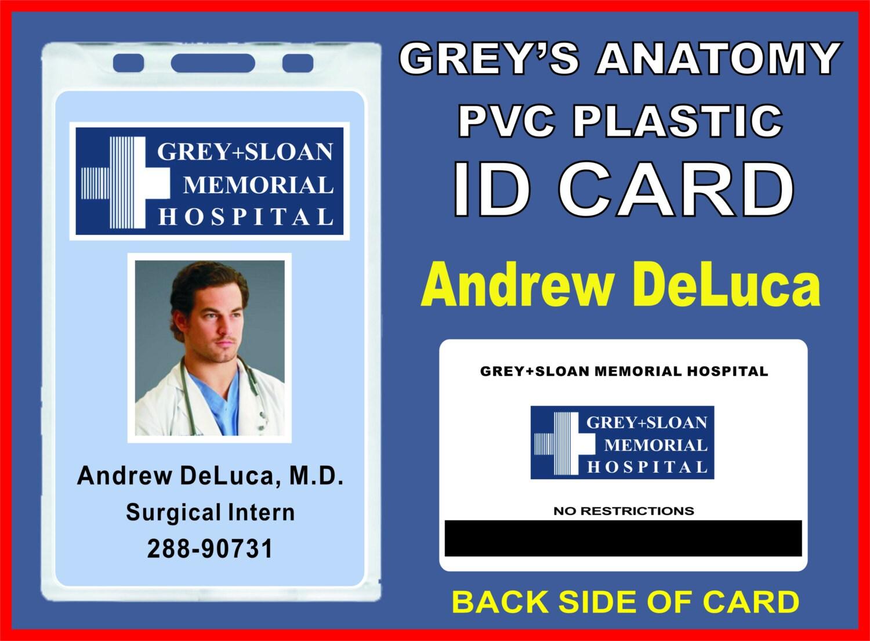 Anatomía de Grey Andrew DeLuca ID Badge / tarjeta de Prop | Etsy
