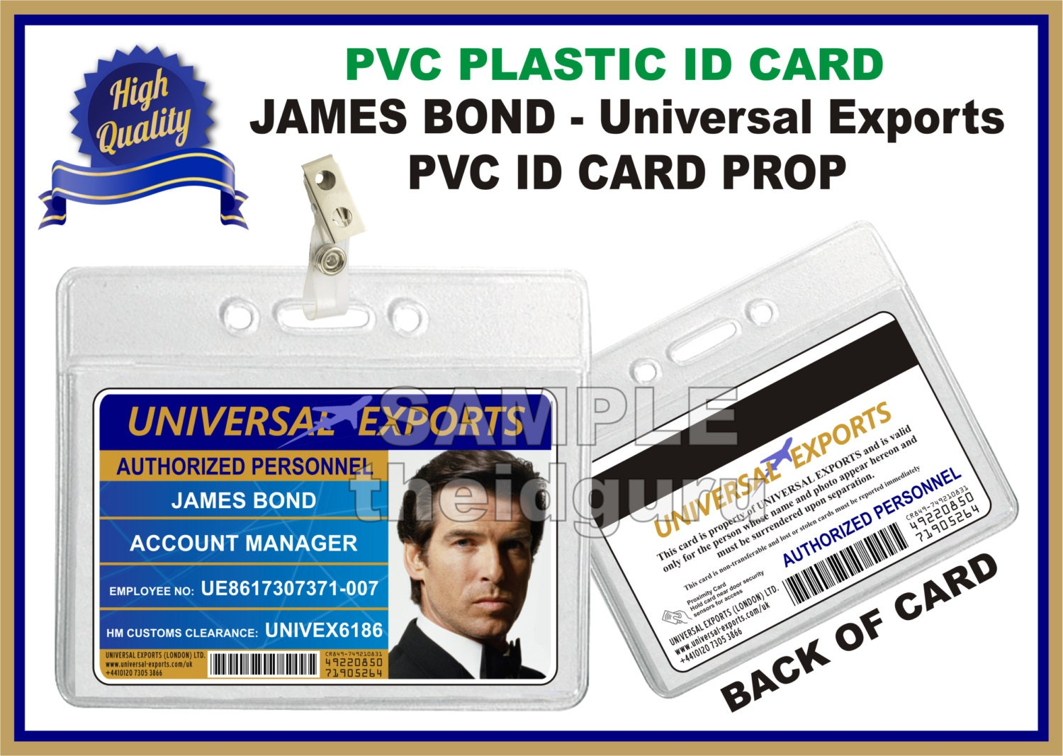 james bond universal exports id badge card printed on both sides premium quality pvc plastic id card usa made - Plastic Id Cards