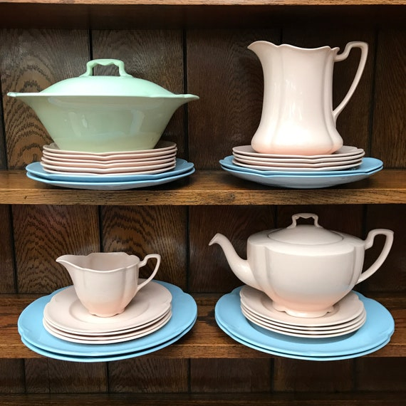 Mid-Century Pastel Pink Blue Yellow and Green Utility Ware China Pieces - Johnson Bros Rosedawn Greydawn Goldendawn Greendawn Plates Cups