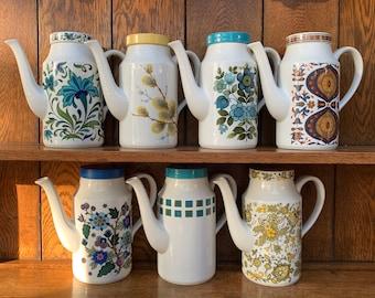 Midwinter Pottery Coffee Pots in the 1960s Fine Shape inc Kismet, Romany, Almeira, Alpine Gold & Spanish Garden patterns