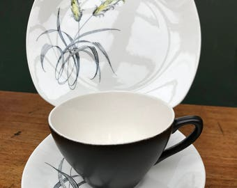 Vintage Midwinter Stylecraft Fashion Shape Bali H'ai Teacup, Saucer & Side Plate Trio designed by John Russell in 1960