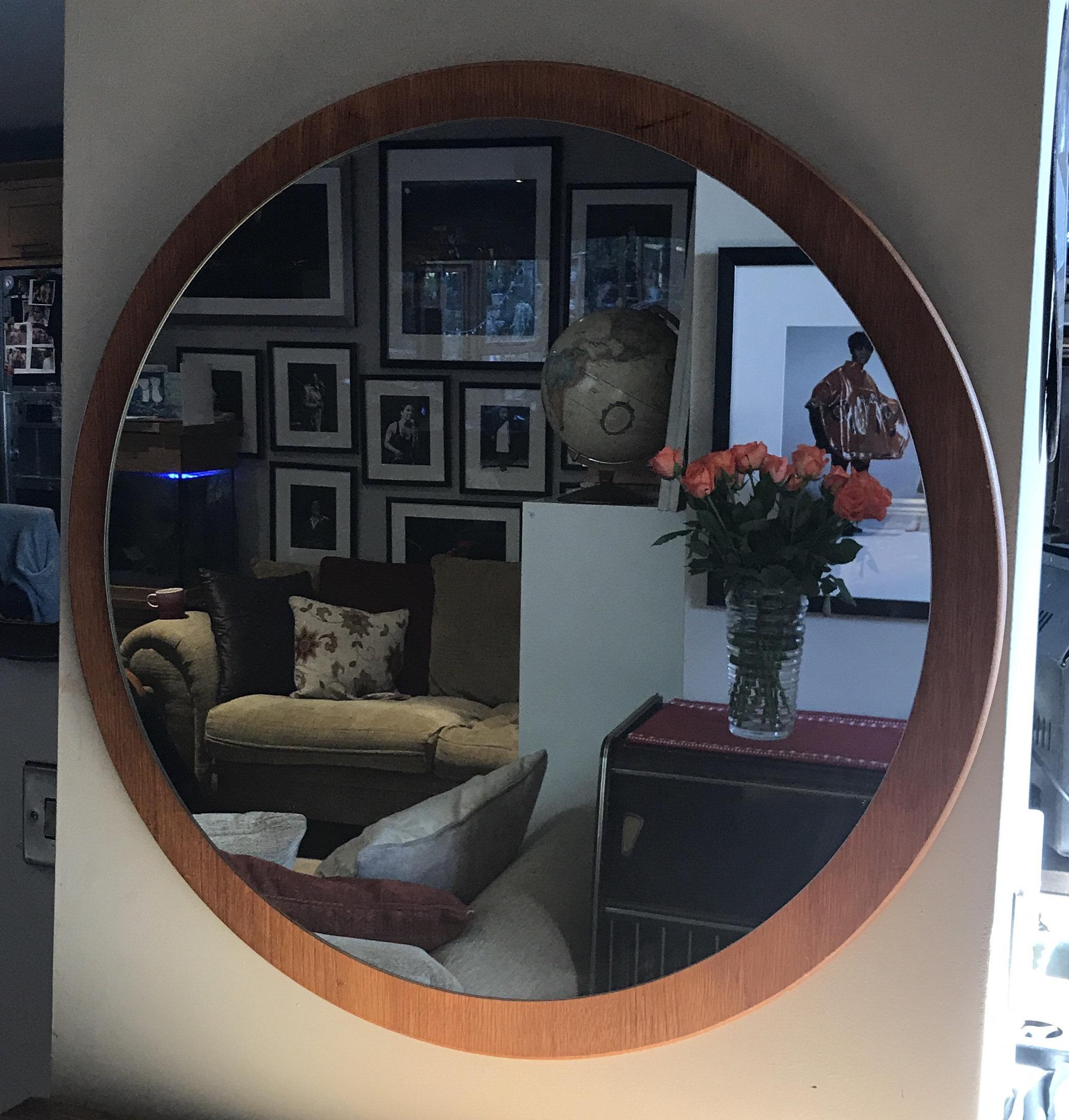 Mid Century Teak Wood Circular Round Large Mirror