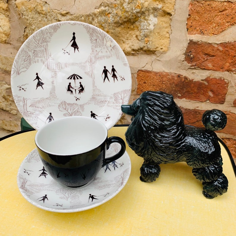 Swinnertons Springtime Poodle Design Tea Set in Black and White - Kitsch  1950s Monochrome Teacups, Saucers and Plates for Six