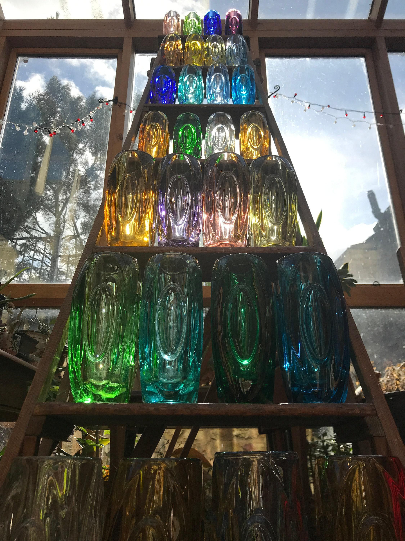 Rosice Sklo Glass Lens Or Bullet Vases In Purple Amber Green Blue Mid Century Czech Designed