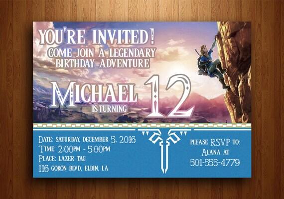 Legend Of Zelda Birthday Invitation Breath The Wild