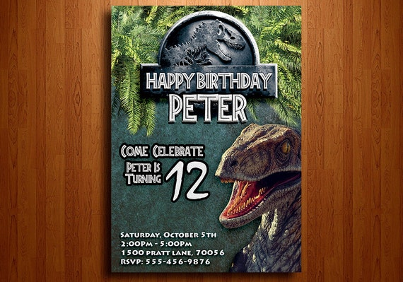 Jurassic World Birthday Invitation Digital Printable File