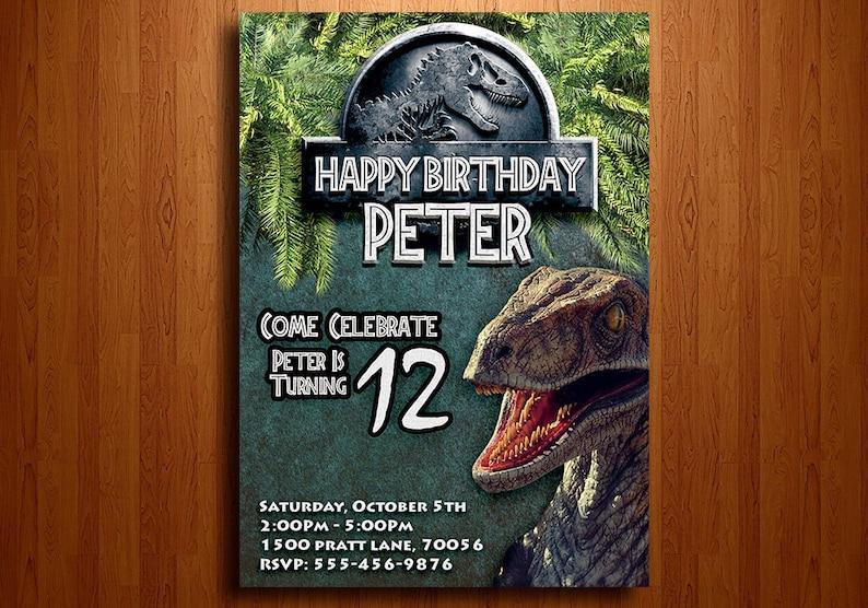 Jurassic World Birthday Invitation Digital Printable File