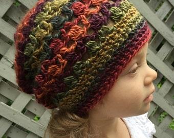 Warm Earth Tone Crochet toddler Slouch Hat 2T - 4T*
