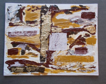"Abstract Painting - ""Eostre""  Acrylic and Goldleaf on Canvas Board 18"" x 14"""