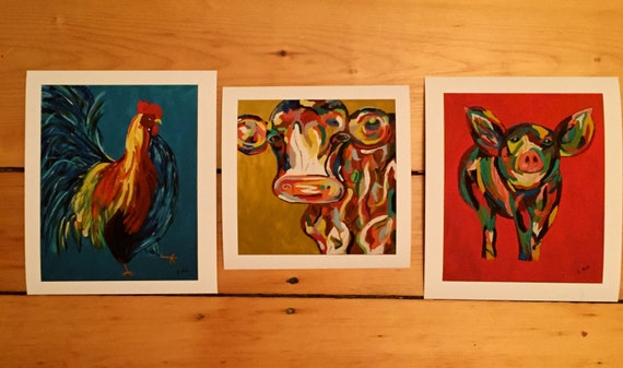 Rooster, Cow and Pig Print Set