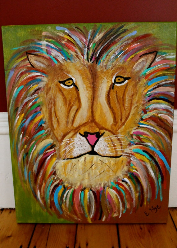 Lion Print on Canvas