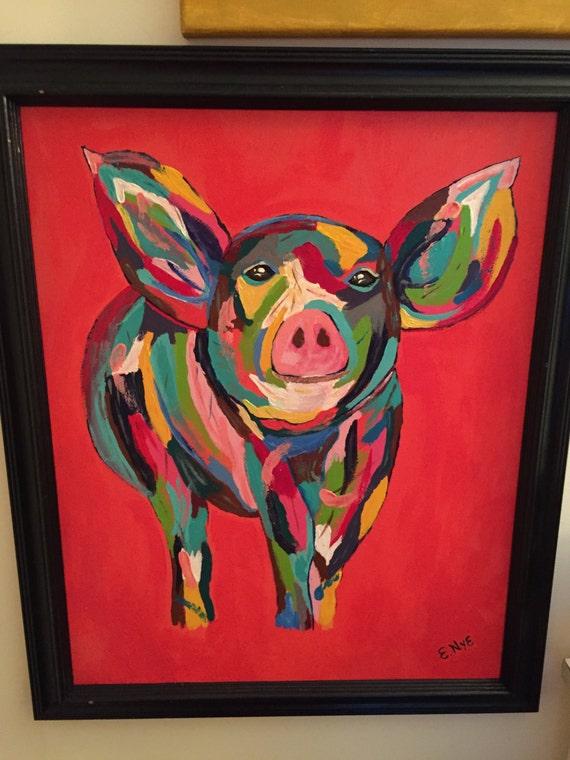 8X10 Canvas Pig Print