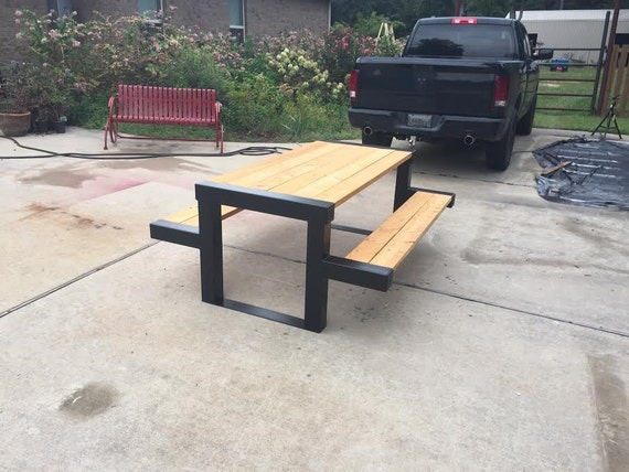Handmade Rustic Modern Steel Outdoor Picnic Dining Table Reclaimed Cypress