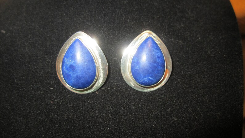 Vintage Genuine Lapis Cabochons Sterling Silver Native American Earrings Handcrafted by Ben G Chavez Southwestern
