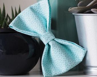 Dog Bow Tie, Blue Polka Dot Bow Tie