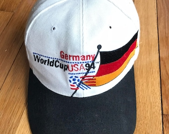 8e514ce8834 Vintage 1994 Germany World Cup Team USA Snapback Hat One Size Black White