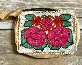 Antique Native American Red and Blue/Purple Flowers Beaded Coin Purse |Small Embellished Pouch