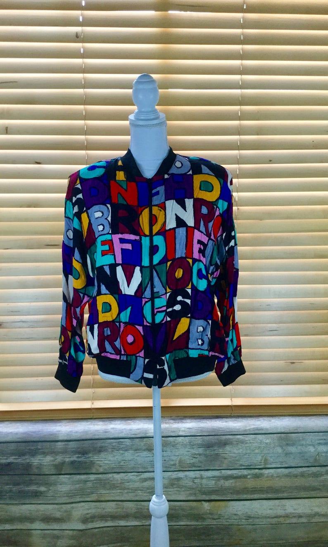 3bcaa8332d Vintage Bomber Retro Alphabet Jacket