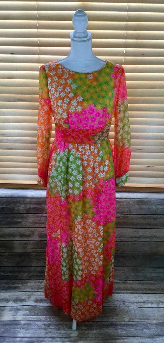 70s Vintage Malia Honolulu Maxi Dress // Empire Wa