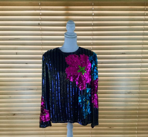 Bold Floral Beaded Vintage Sequin Top
