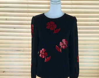 Valentino Boutique Vintage Sequin Floral Sweater