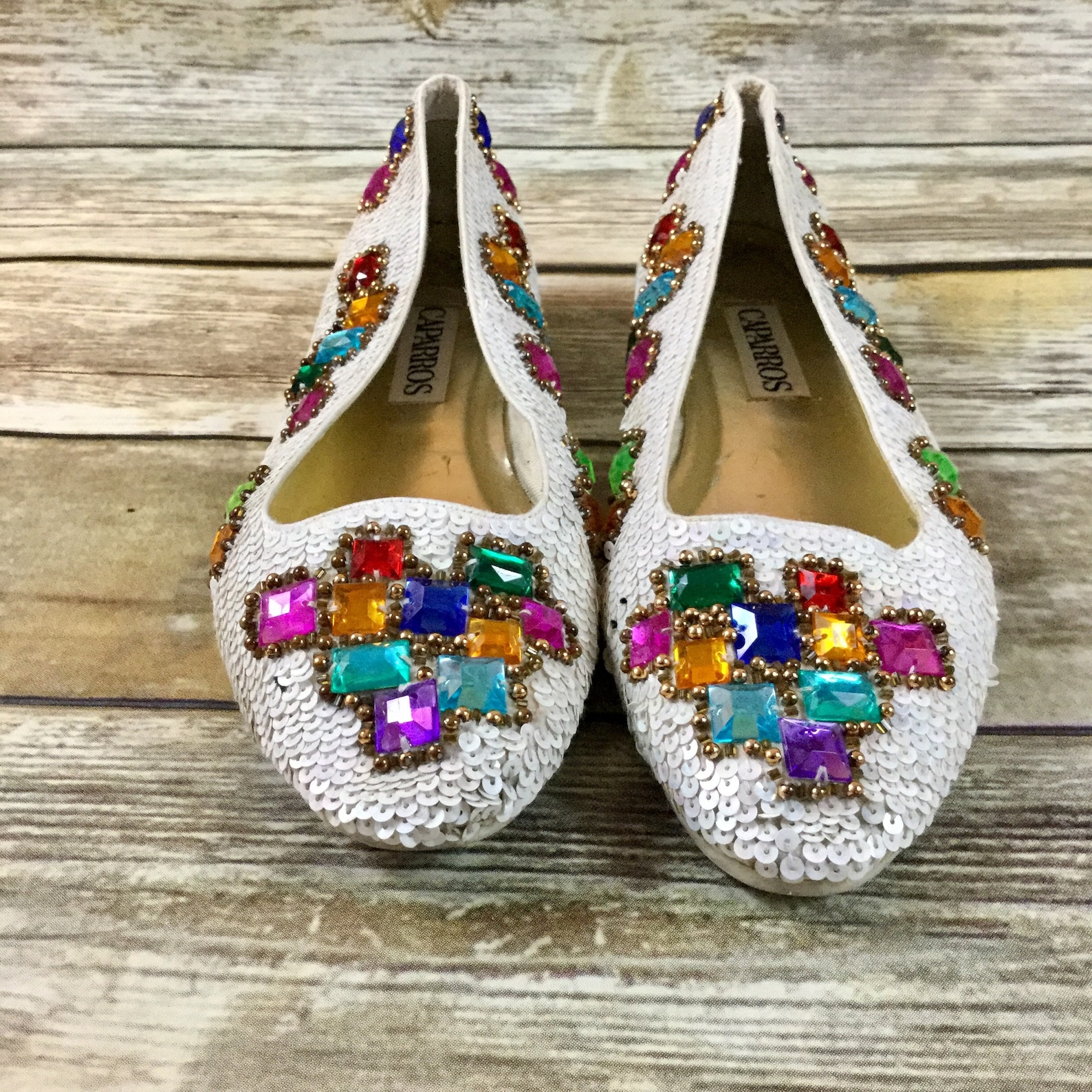 vintage sequin jeweled shoes, caparros us sz 7.5 beaded 1980 ballet flat shoes