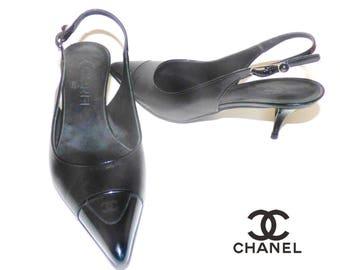 e657f159e36 Authentic Chanel Black Leather