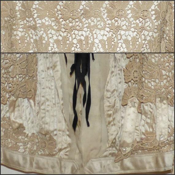 Antique Battenberg Lace Bodice Jacket Blazer 1890… - image 4