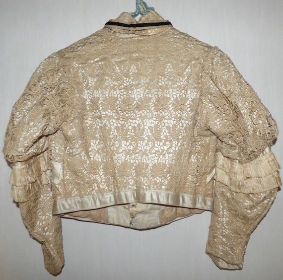 Antique Battenberg Lace Bodice Jacket Blazer 1890… - image 2