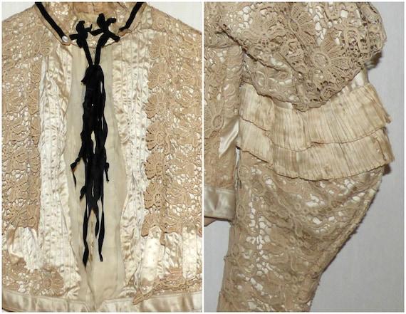 Antique Battenberg Lace Bodice Jacket Blazer 1890… - image 3