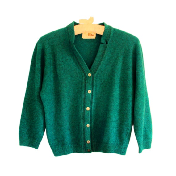 1950s Green Cashmere Retro Cardigan