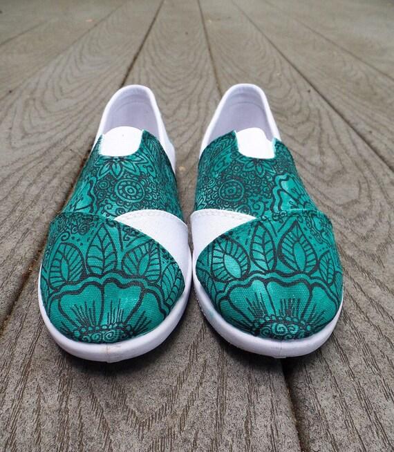 Diseñoalheña floral. Veridian. Slipons para requisitos particulares, personalizada de zapatos de mujer. Hecho a mano, pintado a mano. Por encargo,