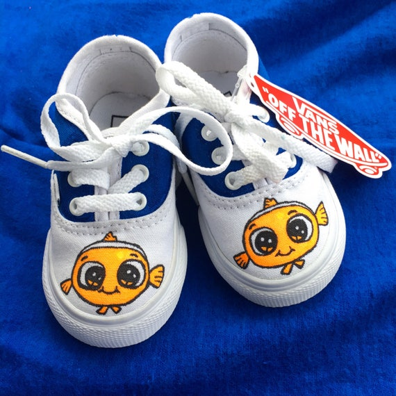 Nemo shoes   Personalized   Hand drawn   Toddler shoes   Vans. Custom   Slip ons. Handmade   doodles.