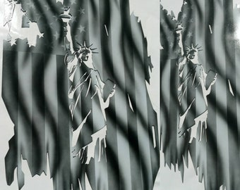 Tattered American flag Steel with Statue of Liberty airbrushed design