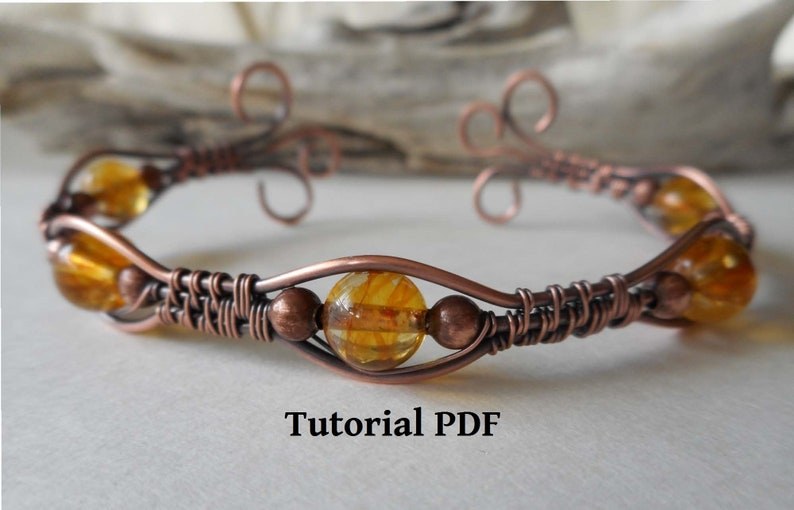 Copper Wire Wrapped Bracelet Cuff Tutorial PDF Wire Wrapped image 0