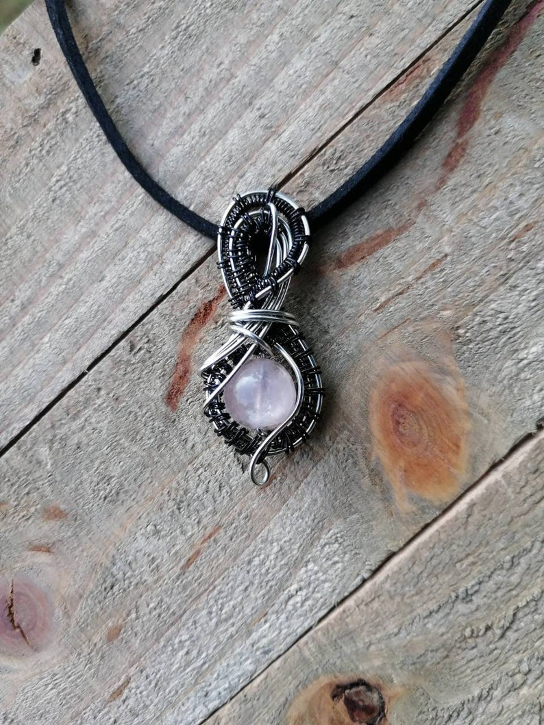 Rose Quartz Woven Bead Pendant / Rose Quartz Necklace / Heady image 0