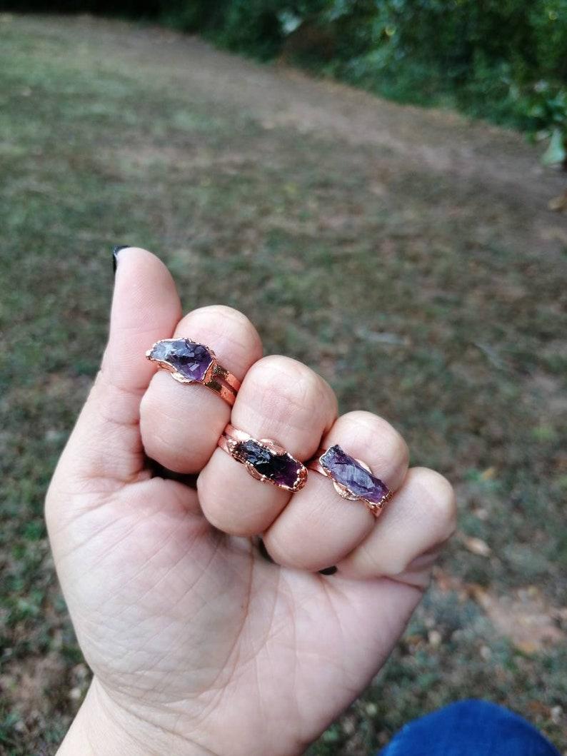 Raw Crystal Rings Electroformed Amethyst Ring Rustic Crystal image 0