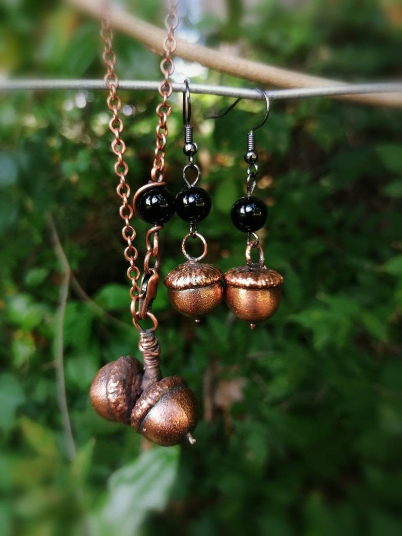 Double Acorn Pendant and Earring set // Copper Electroformed image 0